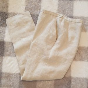 Vintage Petite 100% Linen High Waisted Pants